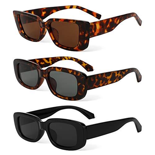 Occhiali da Sole Rettangolari, Occhiali Rettangolari Vintage UV400 Protezione Occhiali da Guida...