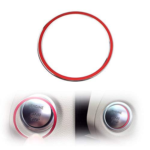 iJDMTOY (1) Sports Red Aluminum Key Hole/Keyless Engine Push Start Button Surrounding Decoration Trim Compatible With Mercedes C E S R ML GL CLA CLS GLA GLC GLE Class