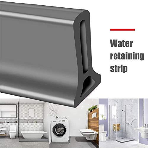 Bad Wasserbarriere Silikonstreifen Duschwanddichtung, Flexibler Silikon-Wasserdurchflussstop für das Bad, trockene und nasse Trennung (50 cm/19.7 in)