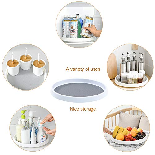 2 Pack Non Skid Lazy Susan Turntable Cabinet Organizer - 360 Degree Rotating Spice Rack - 10 Inch Spinning Carasoul Pantry, Kitchen, Countertop, Vanity Display Stand White/Gray