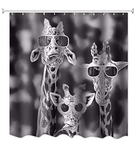 A.Monamour Schwarz-Weiß-Bild Bild Drucken Kühle Giraffen Mit Brille Lustige Muster Polyester Duschvorhang Für Tierliebhaber 180X180 cm / 72X72 Zoll