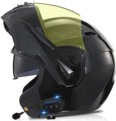 XLYYHZ Casco modular de motocicleta con Bluetooth integrado Mp3 sistema de comunicación de intercomunicación integrado y auriculares de doble altavoz, aprobado por DOT, con doble visera G, M