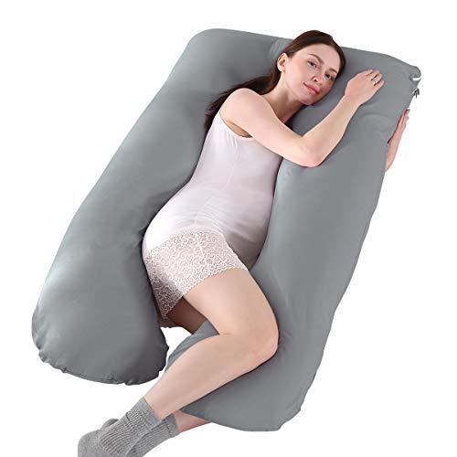 Mingfuxin Almohadas De Maternidad, Almohada De Embarazo En Forma De U Almohadas 100% Algodón para Embarazadas con Funda De Terciopelo Reemplazable para Dormir (145 x 70 cm, Algodón | Gris Oscuro)