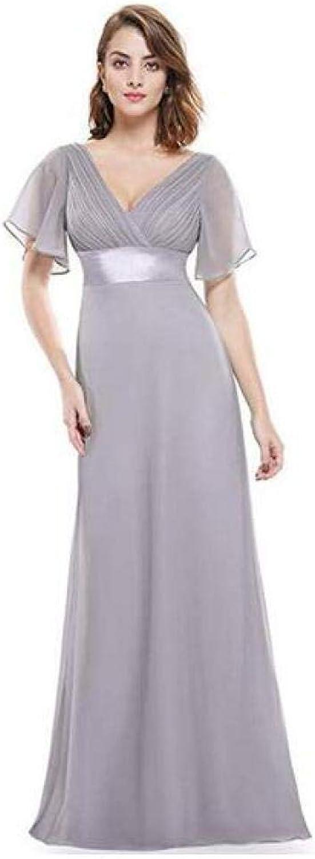 CTO Women's Double VNeck Short Flutter Sleeves Empire Waist Long Evening Dresses Ailin Home,A,Dresses