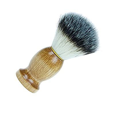 Shaving Brush, JT JUSTIME Wooden Shave Brush with Synthetic Bristles for Men Beard Grooming, Facial Cleaning Foam Razor Brush (Brush)