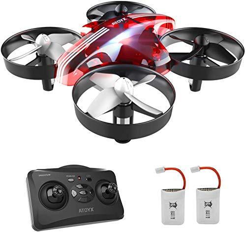 ATOYX AT-66 Drone Enfant Hélicoptère Télécommandé Quadcopter avec Mode sans Tête Avion Mini avec Télécommande Jouet Cadeau pour Enfant et Débutant (Rouge-02)