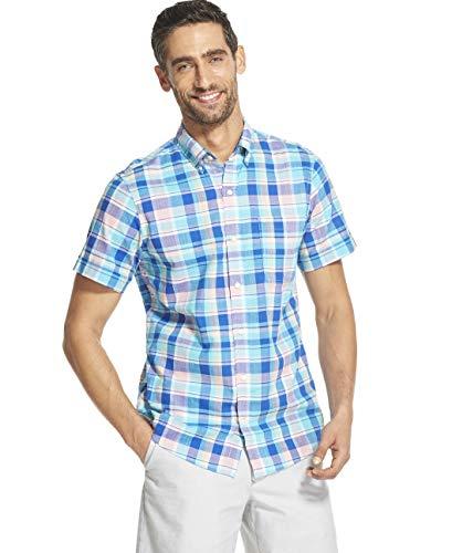 IZOD - Camisa de cuadros de manga corta con botones para hombre - Azul - X-Large Delgado