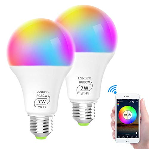 Ampoule WiFi LED E27, LSNDEE Ampoules Connectée Alexa, 7W Intelligente Lumiere de Controle, Couleur RGB+ Blanc Dimmable,...