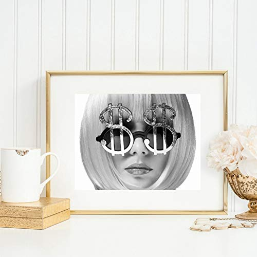 N / A Canvas Decorative Painting Boss Babe Girl Portrait Fashion Prints Cash Queen Poster for Strong Woman Picture On Canvas for Wall Black and White Image Decor Art Decor 20X28 inch