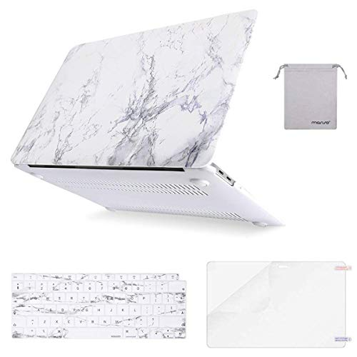 MOSISO MacBook Air 13 inch Case 2020 2019 2018 A2337 M1 A2179 A1932, Plastic Hard Shell&Keyboard Cover&Screen Protector&Storage Bag Compatible with MacBook Air 13 inch Retina, White Marble