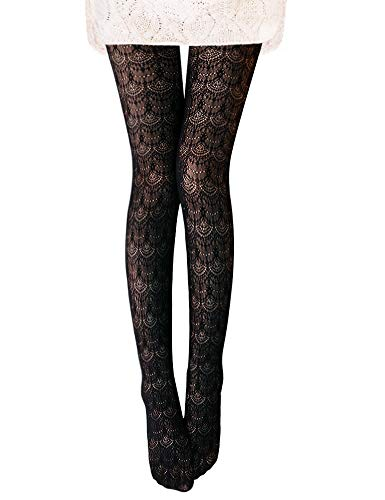Vero Monte 1 Pair Women's Hollow Out Knitted Patterned Tights (Black) 4451