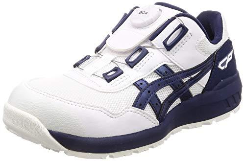 [アシックス] ワーキング 安全靴/作業靴 ウィンジョブ CP209 BOA JSAA A種先芯 耐滑ソール fuzeGEL搭載 ホワイト/ピーコート 27.5