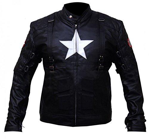 Capitán América El soldado de invierno Steve Rogers Chaqueta de cuero real