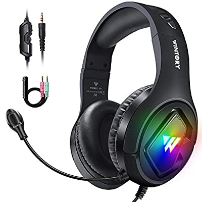 Gaming Headset, PS4 Headset For Xbox one PS5 PC with Mic, Surround Sound Pro Gamer Headphones with Noise Canceling Microphone & LED, In-line Control Stereo Over Ear Headsets For Switch Computer Laptop from WINTORY