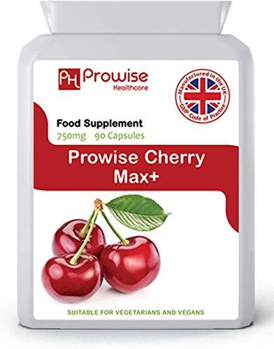 Cherry Max 750mg 90 Cápsulas - Cerezas Montmorency liofilizadas de alta resistencia - Reino Unido Fabricado en GMP para alta calidad constante por Prowise Healthcare