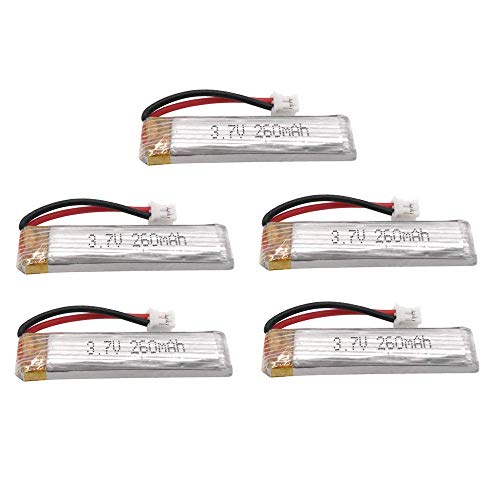 Batería de Respaldo de Alto Rendimiento 3.7V 260mAh 45C / 90C 1S Batería Lipo Conector PH2.0 Recargable para US65 UK65 QX65 para URUAV UR65-5PCS (Color : 5pcs)