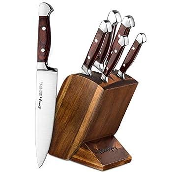 Emojoy Knife Set 6 Piece Kitchen Knives Set with Block Wooden German Stainless Steel Knife Block Set Chef Knife Set