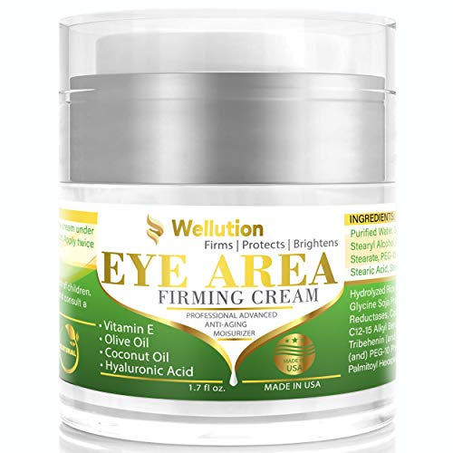 Wellution Eye Cream - Natural Formula with Hyaluronic Acid, Vitamin E & Aloe Vera - Made in USA - Anti Aging Cream for Women - Cleanse, Moisturize, and Protect Your Skin
