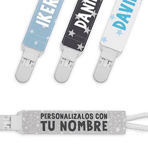 BYDIDIKIDS Lote 4 chupetero cinta chupete personalizados con nombre chico y chica pinza plástico (AZUL)