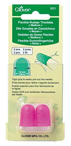 Clover Rubber Thimbles Dedales: goma flexible: mediana: 2 piezas, Rosa, 16 mm