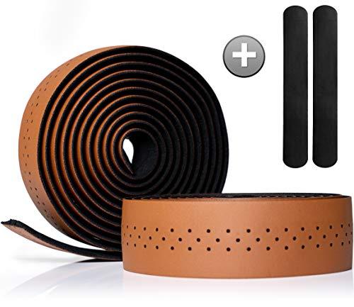 Kellago Langlebiges Profi Leder-Lenkerband [Griffband für Rennrad aus extra robustem und griffigem Kunstleder incl. Klebestreifen/Fahrrad ] (01 BRAUN)