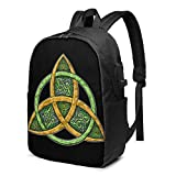 IUBBKI Celtic Trinity Knot Laptop Backpack with USB Charging Port 17 Inch Travel Computer Backpacks for Women Men School College
