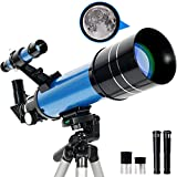 RUNPRISM Telescopio Astronómico 400/70 mm, Telescopio Refractor Portátil con Trípode Ajustable y Visor, para Principiantes, Niños, Adultos(Azul)