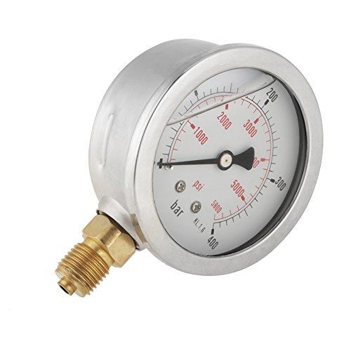 Akozon Hydraulische Wasserdruckanzeige Meter Messwerkzeug, 0-400BAR 0-5800PSI G1/4