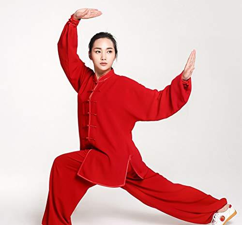 BAIYAN Unisex Chinese Traditional Tai Chi Uniform Kung Fu Clothing,Luxurious Cotton Silk Stretch Taichi Suits Traditional Tai Chi Clothing for Your Tai Chi Exercise,Wushu Clothingred-XX Large