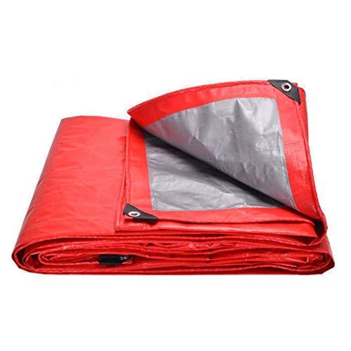 Outdoor waterdicht dekzeil zeildoek regendicht zonweringdoek windscherm regen bruiloft poncho podium tentoonstelling rood zilver (180g/m²) (grootte: 4 * 6m)