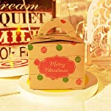 Smallgirl tragbare quadratische Weihnachtsgeschenk-Box, dekorative Weihnachten, Party, Geschenktüte, Süßigkeiten-Papierschachtel, Kekse, Schokolade, Mini-Hochzeits-Box – gestreift...