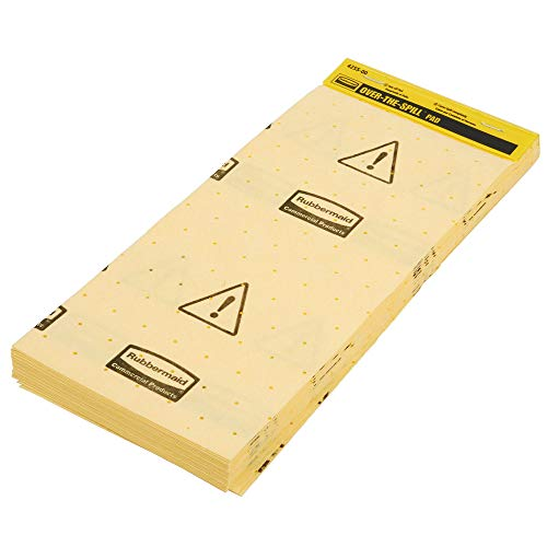 Rubbermaid Commercial Over-The-Spill Pad Station Mini-Tablet, Highly Absorbent, Slip-Resistant,'Caution Wet Floor', Yellow, 17' x 7' (FG425500YEL)