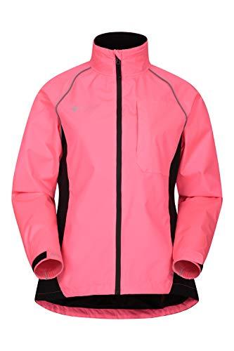 Mountain Warehouse Chaqueta Impermeable Adrenaline Mujer - Chaqueta Transpirable Alta Visibilidad Mujer, Chaqueta Lluvia Reflectante - Ciclismo & Running Rosa Brillante 50