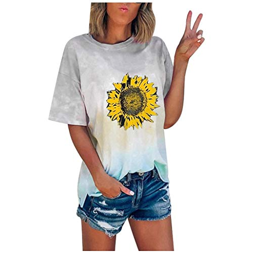 Hffan Mode Frauen Tie-Dye Print Kurzarm Off Shoulder Casual T-Shirt Bluse Tops