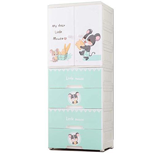 Armarios de almacenamiento de armario ensamblados para niños, armarios ensamblados simples engrosados, armarios de almacenamiento de plástico, poleas móviles inferiores, fácil limpieza,57*38*146cm