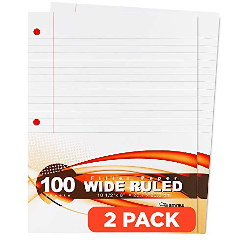Emraw Wide Ruled Filler Paper, Perfect for Normal Everyday Notetaking 8'x10.5' x 0.32' Inch, 2 Pack - 100 Sheets Per Pack (Total 200 Sheets)