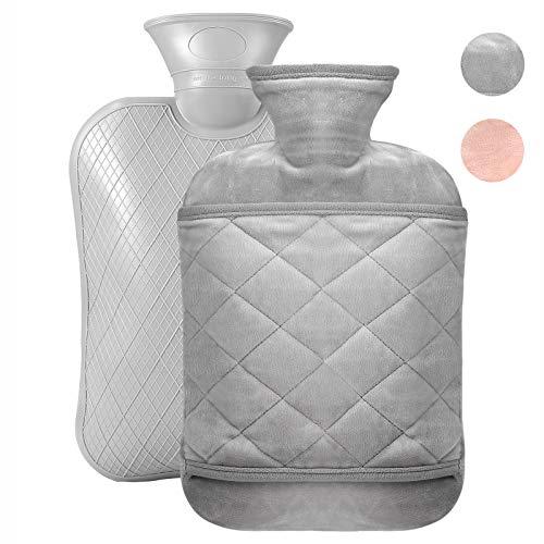 Wärmflasche mit weichem Bezug - 1,8L Wärmekissen Schnelle Schmerzlinderung und Komfort, waschbare, Sicher und langlebig Wärmeflasche, Bettflasche, Wärmflasche Kinder, grau2
