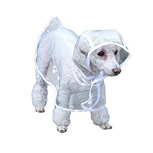 UEETEK Imperméable en caoutchouc imperméable robe de vêtements poncho pour petit chien d'animal familier - taille XS (blanc)
