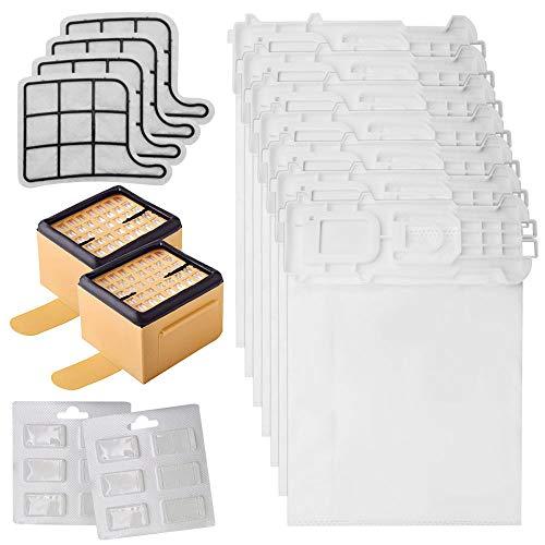 GreeSuit Kit de filtros y Bolsas de Microfibra 18 Bolsas de aspiradora + 2 filtros HEPA EPA + 4 filtros de Rejilla para Motor + 12 ambientadores perfumes para aspiradora Vorwerk Kobold VK135, VK136