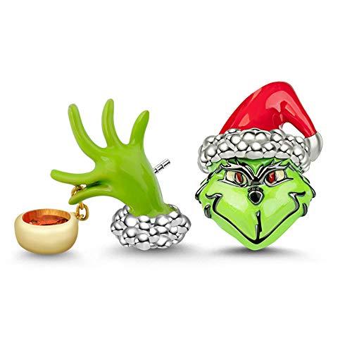 Gnoce Sterling Silber Damen Ohrringe Grüne Monster Set baumeln Ohrringe mit Zirkonia Mode Ohrstecker Ohrringe Einzigartige Weihnachten Geschenk für Frauen Männer Mädchen
