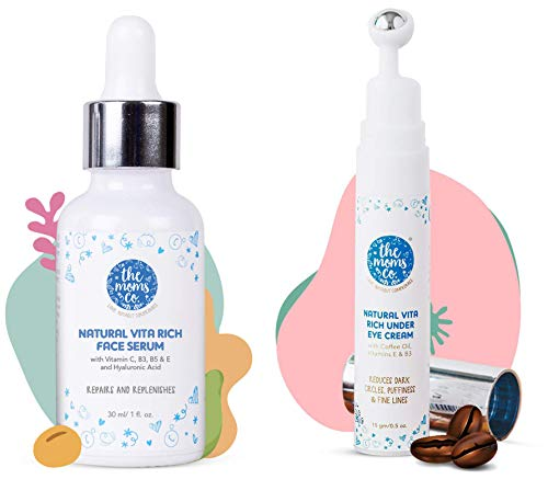 The Moms Co. Natural Vitamin C Hyaluronic Acid Face Serum and Natural Vita Rich Under Eye Cream