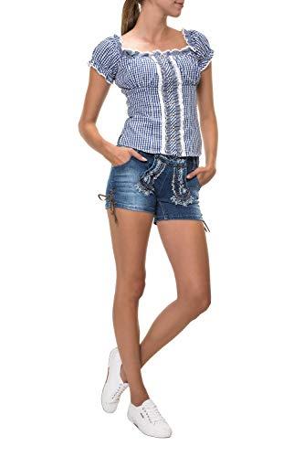 Hailys Damen Trachten Jeans Shorts Lederhose Oktoberfest Wiesn (L, Blue)