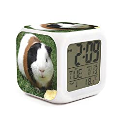 Fashion Guinea Pig Print 7 LED Color Change Digital Thermometer Alarm Clock with LCD Display Cube Night Light for Kids