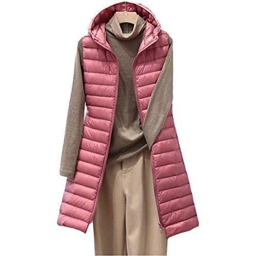 Dasongff - Chaleco de plumas para mujer, sin mangas, cálido, de entretiempo, de plumón, medio, ligero, con cremallera, monocolor, para el tiempo libre, para otoño, invierno, escalada, viajes