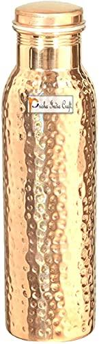 900ml/de carpintero–Prisha India Craft Pure botella de agua de cobre Ayurveda beneficios para la salud–libre–Pinzas de hielo con madera llavero botellas de agua latón libre, regalo de Navidad