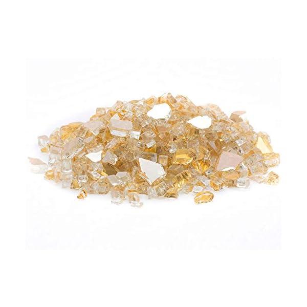 "Dragon Glass 1/4"" Reflective Fire Glass, 10 lb, Gold"