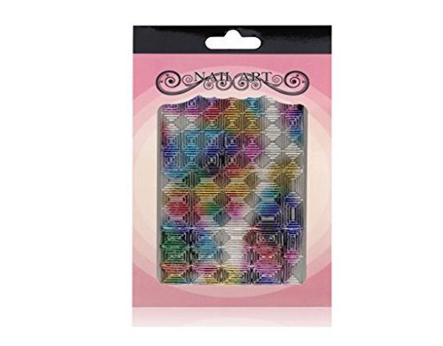 Stickers ongles Autocollants Hologramme Rectangles & Triangles Argent & néon - Nail art REF2880