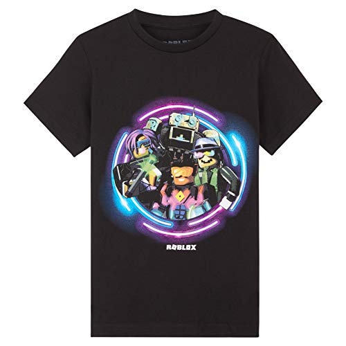 Roblox Tshirt Jungen, 100% Baumwolle T Shirt Schwarz Für Kinder Und Teens mit Neon Design, Mädchen Und Jungen T Shirts 4-14 Jahre, Gaming Geschenke (Schwarz, 6-7 Jahre)