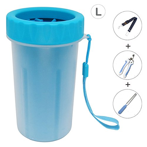 Ownmax Dog Paw Cleaner Washer, Pet Foot Cleaning Brush Cup Soft Silicone Brushes for Grooming Kit Removable and Washable, Dog Safety Belt Clip and Dog Nail Clipper Grinder Included (Large: 6×4 inch)