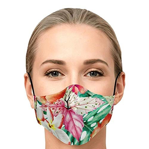 Zhousir Fashion Face Covers, Flower Printed, Reusable, Printed Face Bandanas, for Women Men Air Filter Face Bandanas Adults, Washable Face Cover, Face Covering for Unisex, for Outdoor Cycling Ski